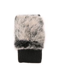 Adrienne Landau | White Knit Fingerless Fur Gloves - Black | Lyst