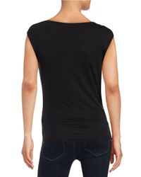 Laundry by Shelli Segal | Black Chiffon Draped Blouse | Lyst