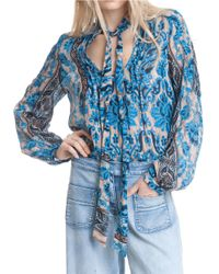 Plenty by Tracy Reese   Multicolor Paisley Tie-neck Blouse   Lyst