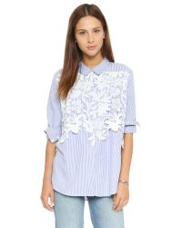 Endless Rose - Blue Lace Placket Button Down Shirt - Lyst