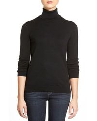 Lauren by Ralph Lauren - Black Silk & Cotton Turtleneck Sweater - Lyst