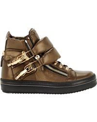 Giuseppe Zanotti - Brown Puffy-strap Double-zip Sneakers for Men - Lyst