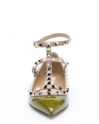 Valentino - Olive Green Patent Leather 'Rockstud' Cage Ballerina Flats - Lyst