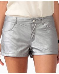 Forever 21 - Gray Distressed Coated Metallic Shorts - Lyst