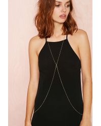 Nasty Gal - Metallic Cross My Heart Body Chain - Lyst