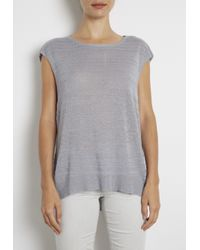 INHABIT | Blue Textured Stripe Open Back Tee | Lyst