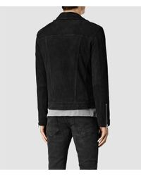 AllSaints - Black Geo Suede Biker Jacket for Men - Lyst