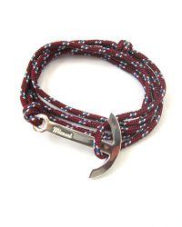 Miansai | Multicolor Modern Silver Anchor And Burgundy Rope Wrap Bracelet | Lyst