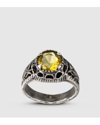 Gucci | Ring With Yellow Glass Stone | Lyst
