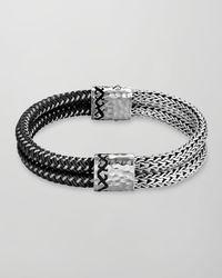 John Hardy | Black Dayak Double Row Bracelet for Men | Lyst