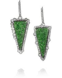 Kimberly Mcdonald - Green 18karat White Gold Uvarovite Garnet and Diamond Earrings - Lyst