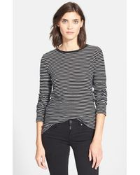 VINCE | Black Feeder Stripe Long Sleeve Tee | Lyst