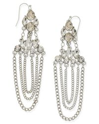 Guess - Metallic Earrings, Silver-Tone Crystal And Chain Chandelier Earrings - Lyst