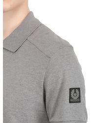 Belstaff - Gray Westley Cotton Piqué Biker Polo Shirt for Men - Lyst
