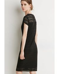 Forever 21 | Black Shadow Stripe Cap-sleeve Dress | Lyst