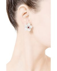Seaman Schepps - White Small Biwa Flower Earrings - Lyst