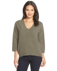 White + Warren | Green Plush Cashmere V-neck Sweater | Lyst