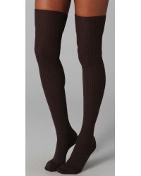Falke - Brown Striggings Ribbed Over The Knee Socks - Lyst