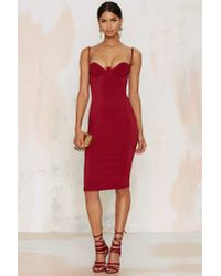 Nasty Gal | Red Rare London Monroe Midi Bodycon Dress - Burgundy | Lyst