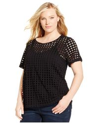 INC International Concepts | Black Plus Size Perforated Tee | Lyst