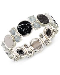 Anne Klein - Silver-tone Black And White Stone Stretch Bracelet - Lyst