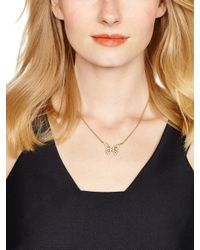 kate spade new york - Metallic All A Flutter Pave Mini Pendant - Lyst