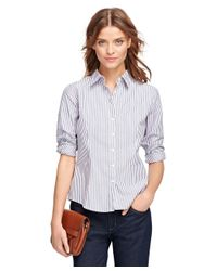 Brooks Brothers | Purple Non-iron Fitted Stripe Dress Shirt | Lyst