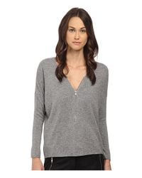 The Kooples - Gray Wool And Cashmere Sweater With Zip Neck - Lyst