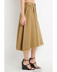 Forever 21 - Natural Frayed Midi Skirt - Lyst