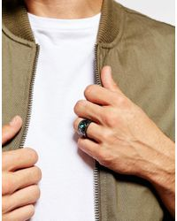 ASOS | Metallic Signet Ring In Gunmetal for Men | Lyst