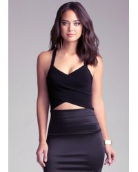 Bebe - Black Criss Cross Crop Top - Lyst