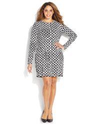 Michael Kors - Black Michael Plus Size Long-Sleeve Printed Shift Dress - Lyst
