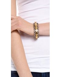 Tory Burch - Metallic Leather Logo Cuff Bracelet - Lyst