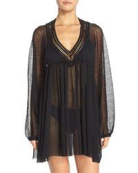 Robin Piccone - Black Crochet Trim Tunic Cover-up - Lyst