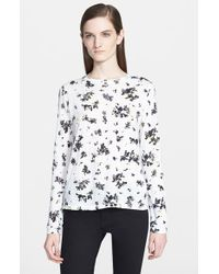 Proenza Schouler - Black Print Tissue Jersey Long Sleeve Top - Lyst