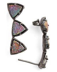 Kendra Scott | Gray 'natalie' Drusy Ear Climbers - Gunmetal Multi Drusy | Lyst