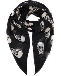Saint Laurent - Black Skull Print Scarf for Men - Lyst