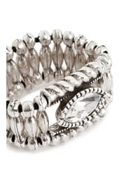 Philippe Audibert - Metallic 'mandy' Crystal Elastic Ring - Lyst