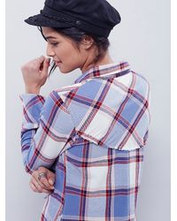 Free People - Blue We The Free Womens We The Free Slub Flannel Buttonup - Lyst