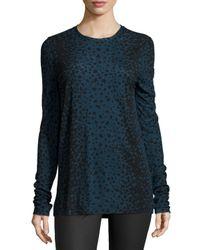 VINCE | Black Leopard-print Crewneck Shirt | Lyst