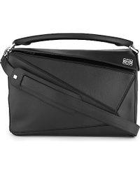 Loewe - Black Puzzle Small Leather Shoulder Bag  - Lyst