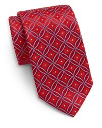 Saks Fifth Avenue | Red Medallion Silk Tie for Men | Lyst