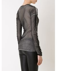 Lost & Found - Black Long Sleeve Mesh T-shirt - Lyst