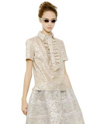 Rochas - Metallic Lace Lurex Ruffled Shirt - Lyst
