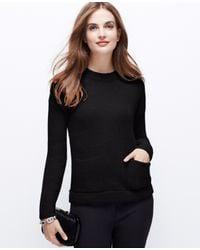 Ann Taylor | Black Petite Cozy Pocket Sweater | Lyst