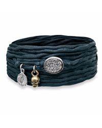 Platadepalo - Blue Trend Black Silk Bracelet - Lyst