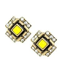 Gerard Yosca | Four Square Clip Earrings, Yellow | Lyst