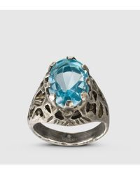 Gucci | Ring With Light Blue Glass Stone for Men | Lyst