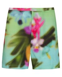 Osklen - Green Tropical Print Shorts - Lyst