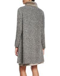 Lafayette 148 New York - Gray Long Cardigan Coat W/ Mink Fur Collar - Lyst